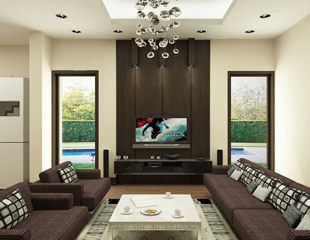 Modern Brown Living Room Decorating Ideas Brown Living Room with Modern Ceiling Lamps Interior