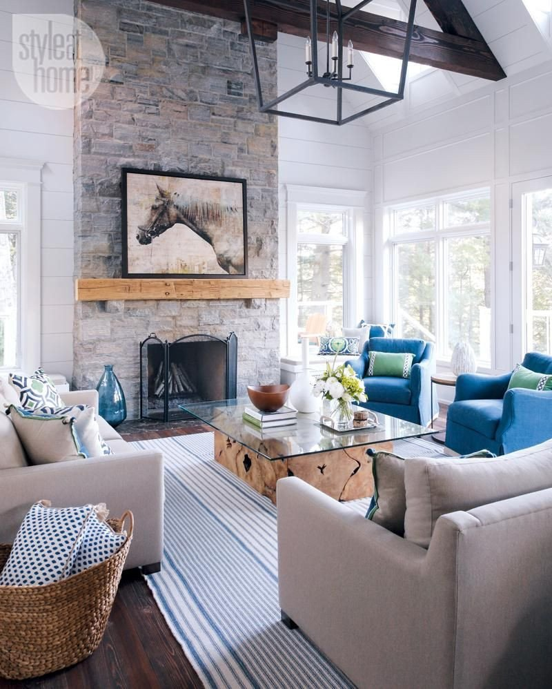 Modern Cottage Living Room Decorating Ideas House tour Modern Nautical Style Cottage
