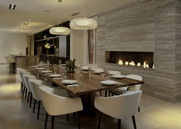Modern Living Dining Room Decorating Ideas 14 sophisticated Dining Rooms with Beautiful Fireplace