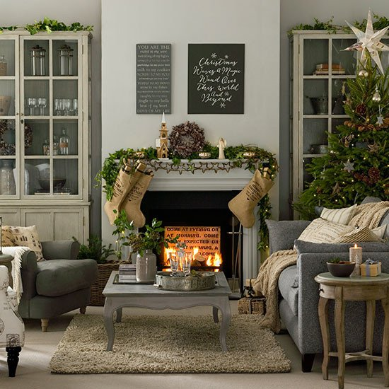 Modern Living Room Decorating Ideas Christmas Grey and Taupe Christmas Living Room Decorating