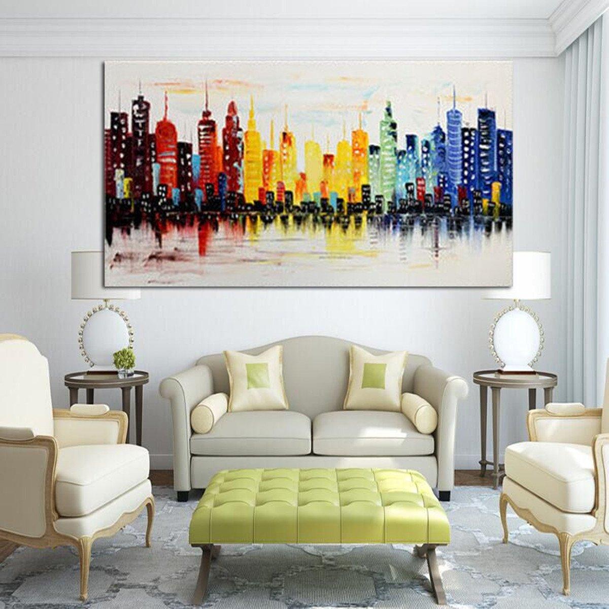 Modern Living Room Wall Decor 120x60cm Modern City Canvas Abstract Painting Print Living