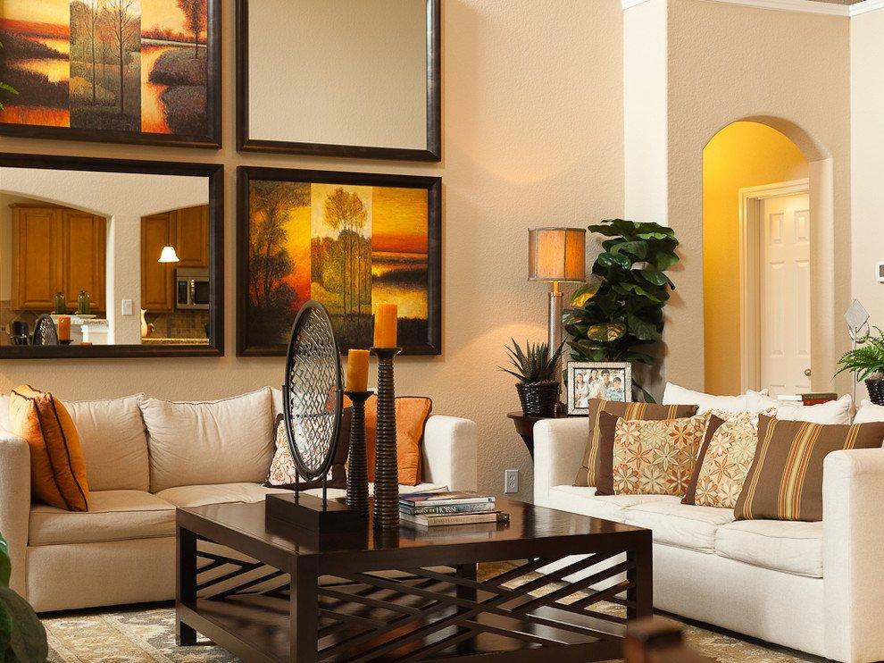 Modern Living Room Wall Decor Art Arrangement Ideas Living Room Contemporary with Beige