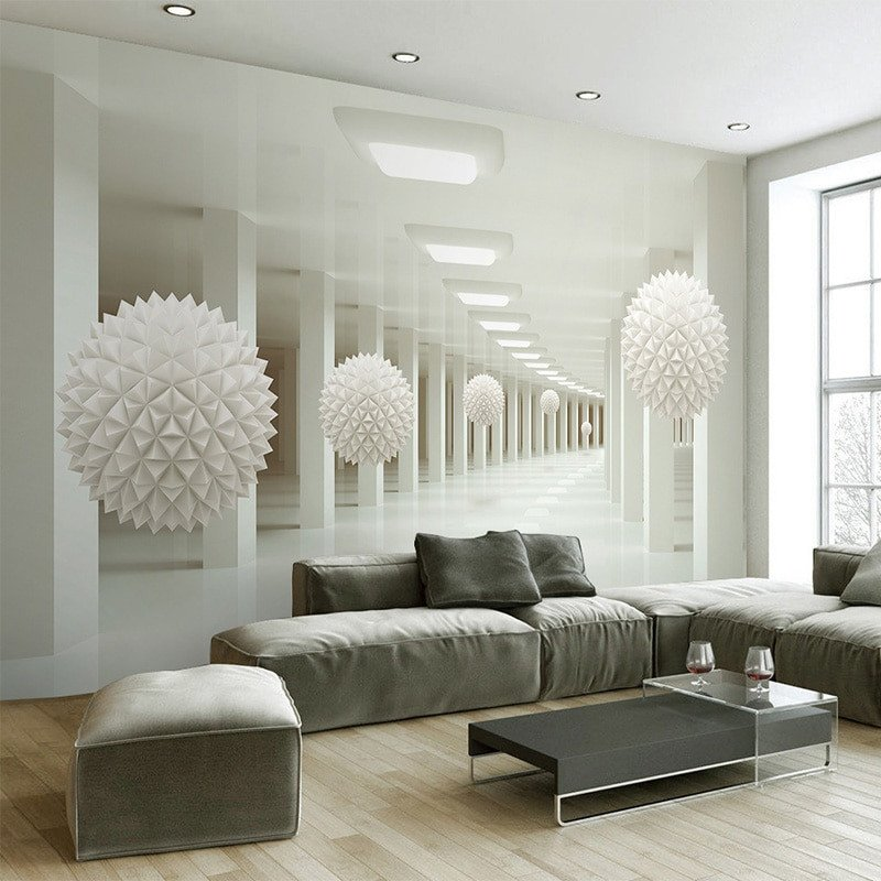 Modern Living Room Wall Decor Modern Simple 3d Stereo Abstract Space White Sphere Mural