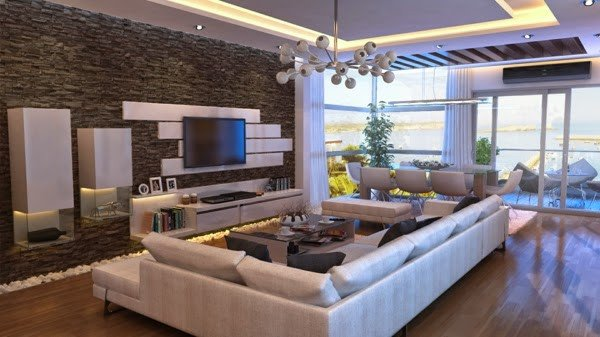 Modern Living Room Wall Decorating Ideas Living Room Design Ideas Natural Stone Wall In the Interior