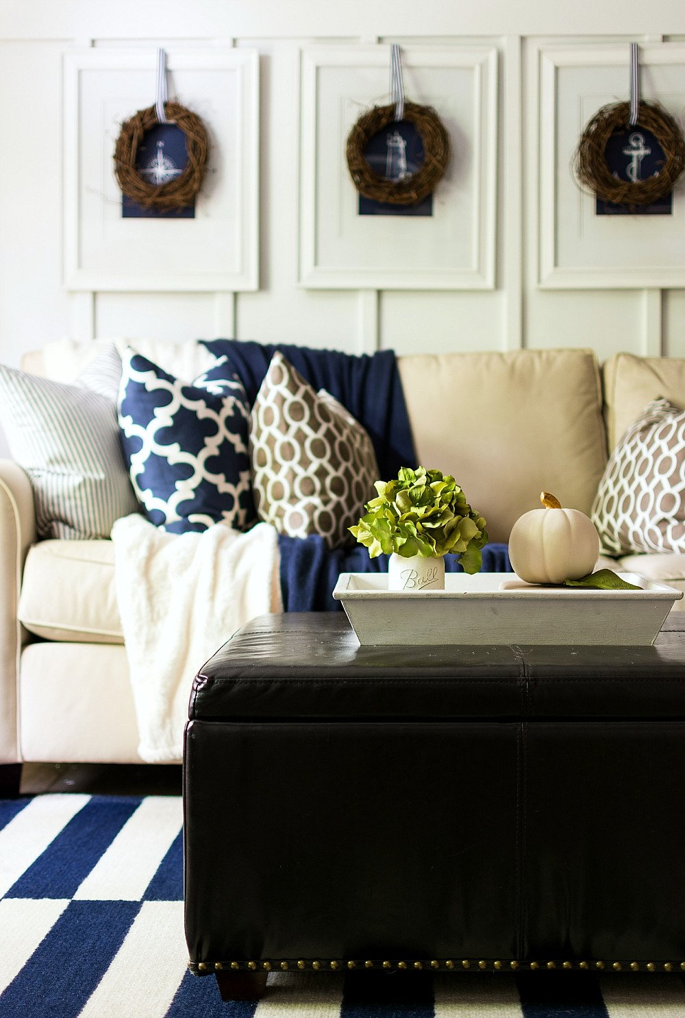 Navy Blue Living Room Decor Fall Decor In Navy and Blue