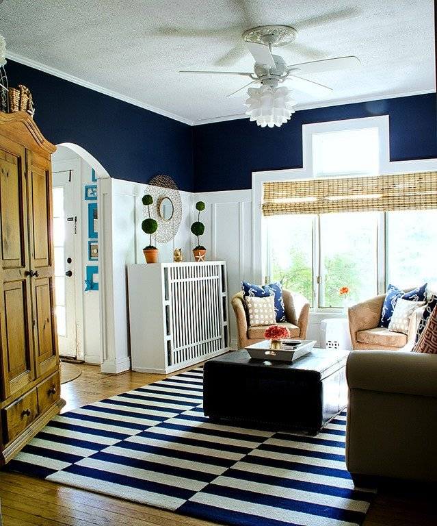 Navy Blue Living Room Decor Navy and White Board & Batten Living Room Design