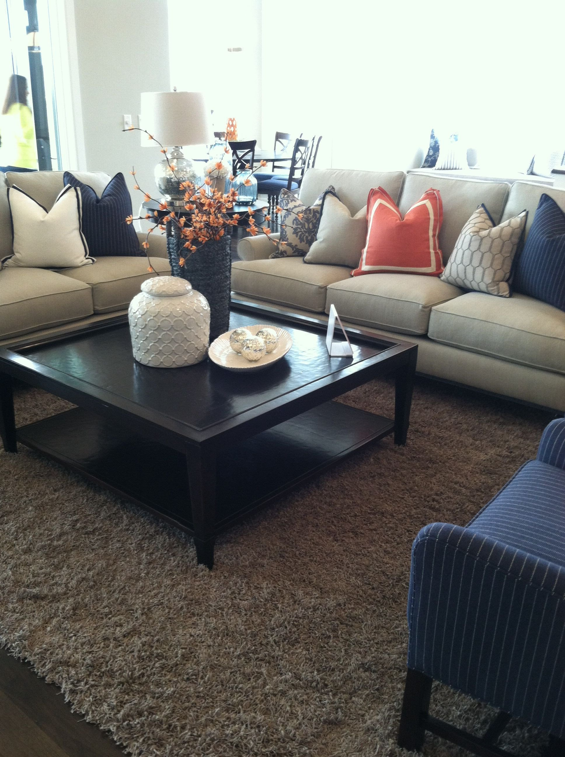 Navy Blue Living Room Decor orange and Navy Blue Accent for Family Room Looks so