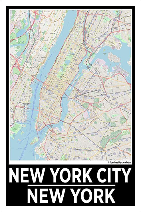New York City Bedroom Decor Spitzy S New York City New York 12 by 18 Inch City Map Poster Home Wall Art Printed Bedroom Decoration Big Apple