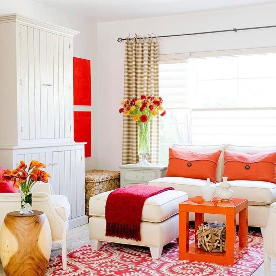 Orange Decor for Living Room Decorating In orange