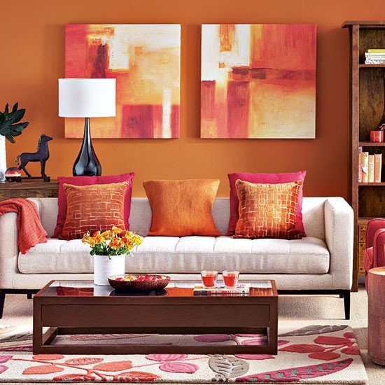 paprika and beige living room