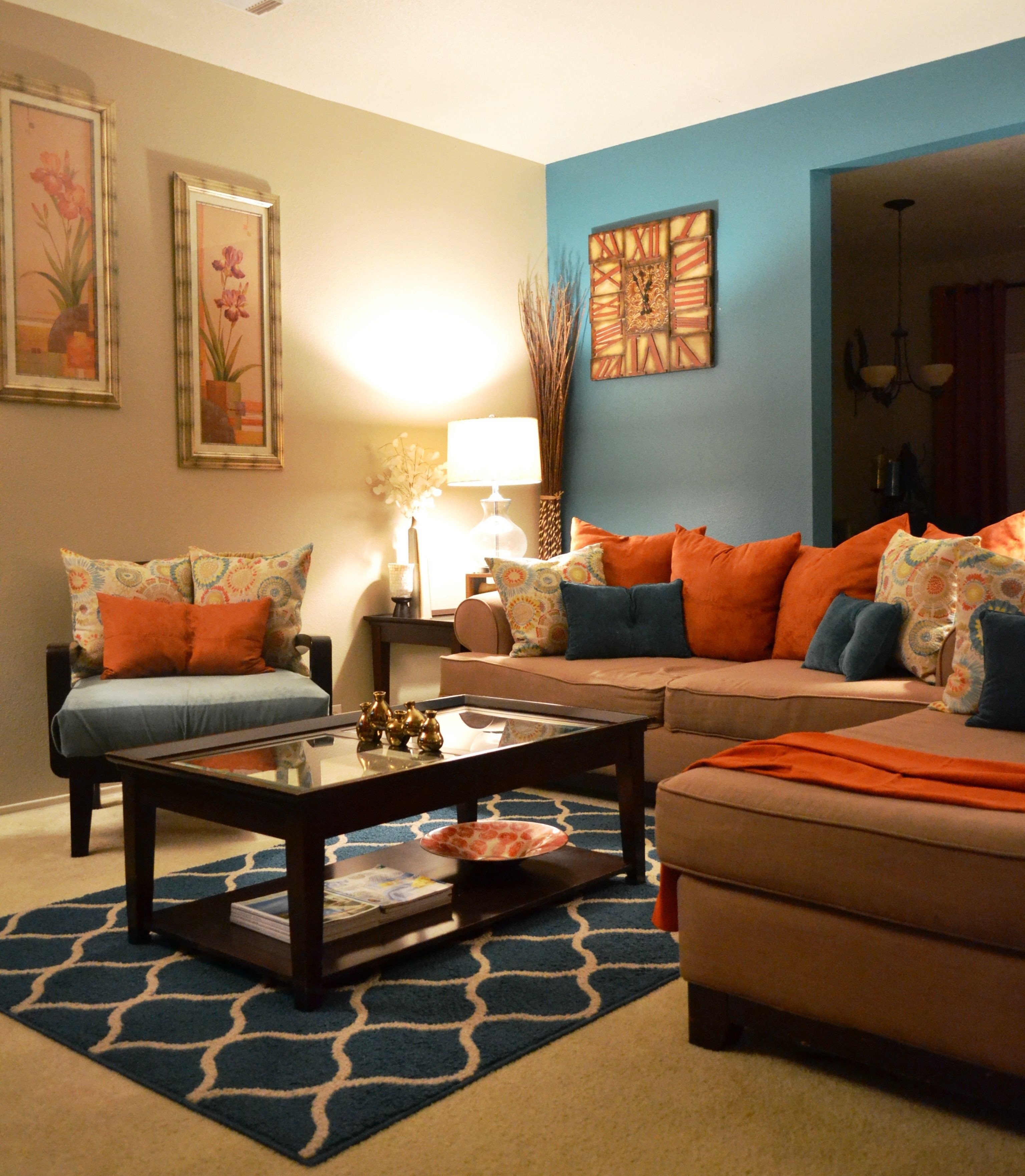 Orange Decor for Living Room Rugs Coffee Table Pillows Teal orange Living Room