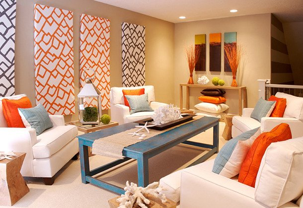 Orange Decor for Living Room Seaside Interiors Blue and orange Color Bo