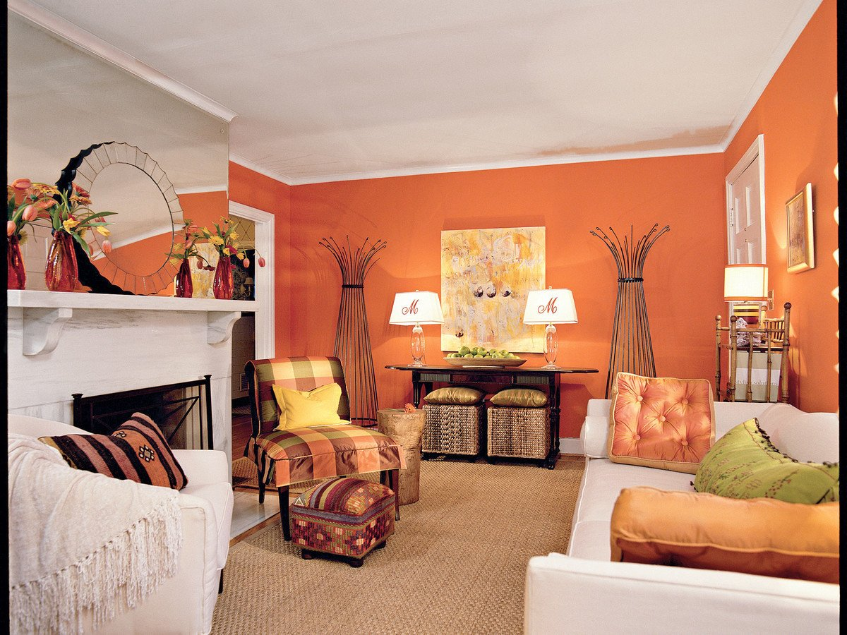 Orange Decor for Living Room Tangerine orange Living Room southern Living