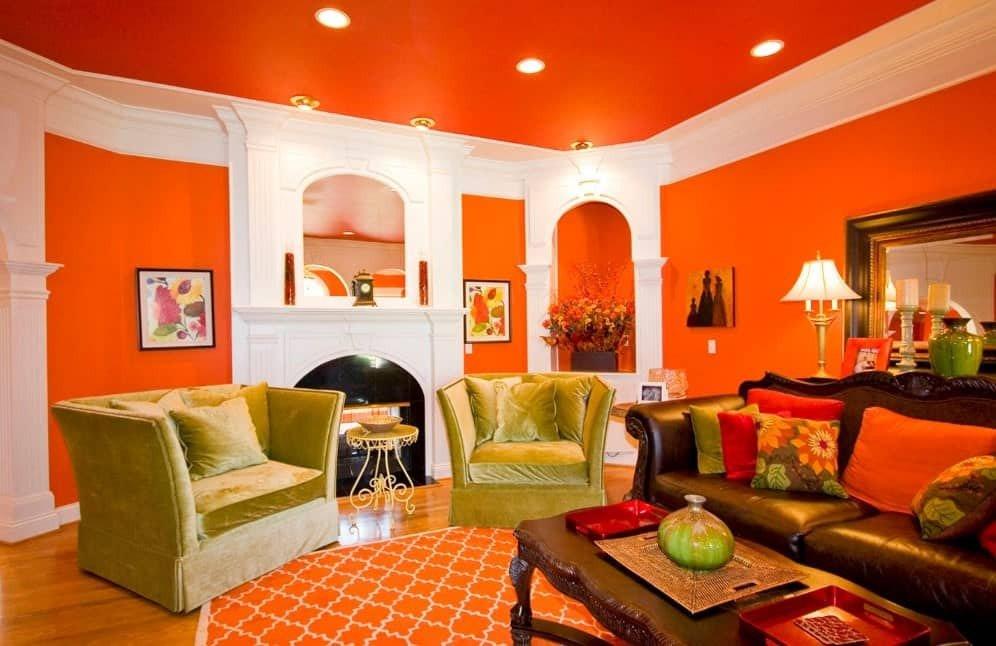 Orange Traditional Living Room 40 orange Living Room Ideas S