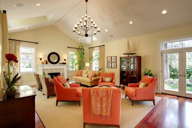 Orange Traditional Living Room A Pop Of orange Traditional Living Room Los Angeles