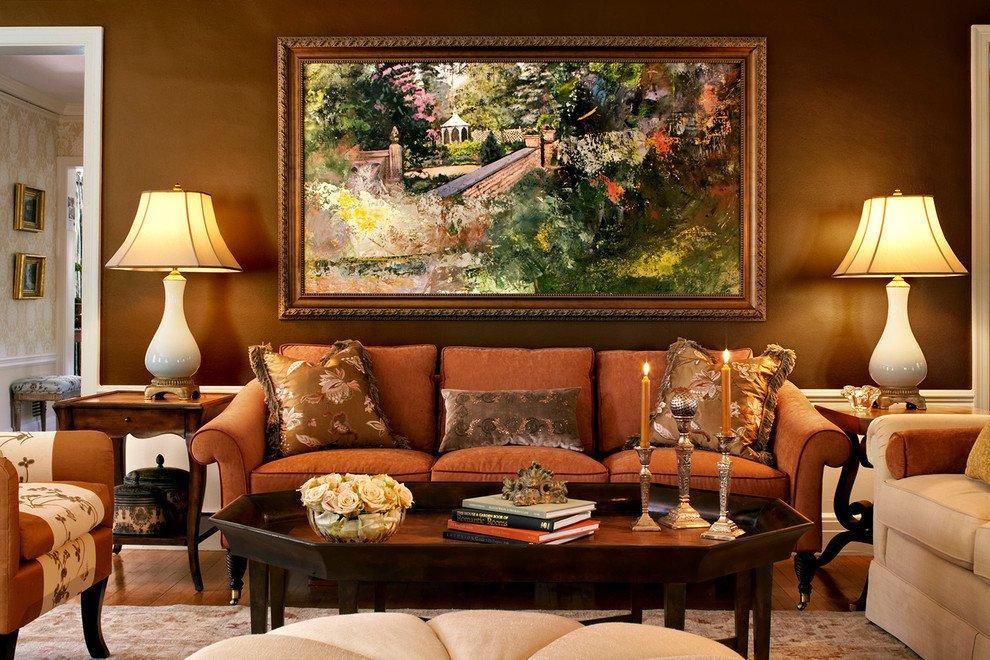 Orange Traditional Living Room Brown Pillar Candle Holders Living Room Traditional with