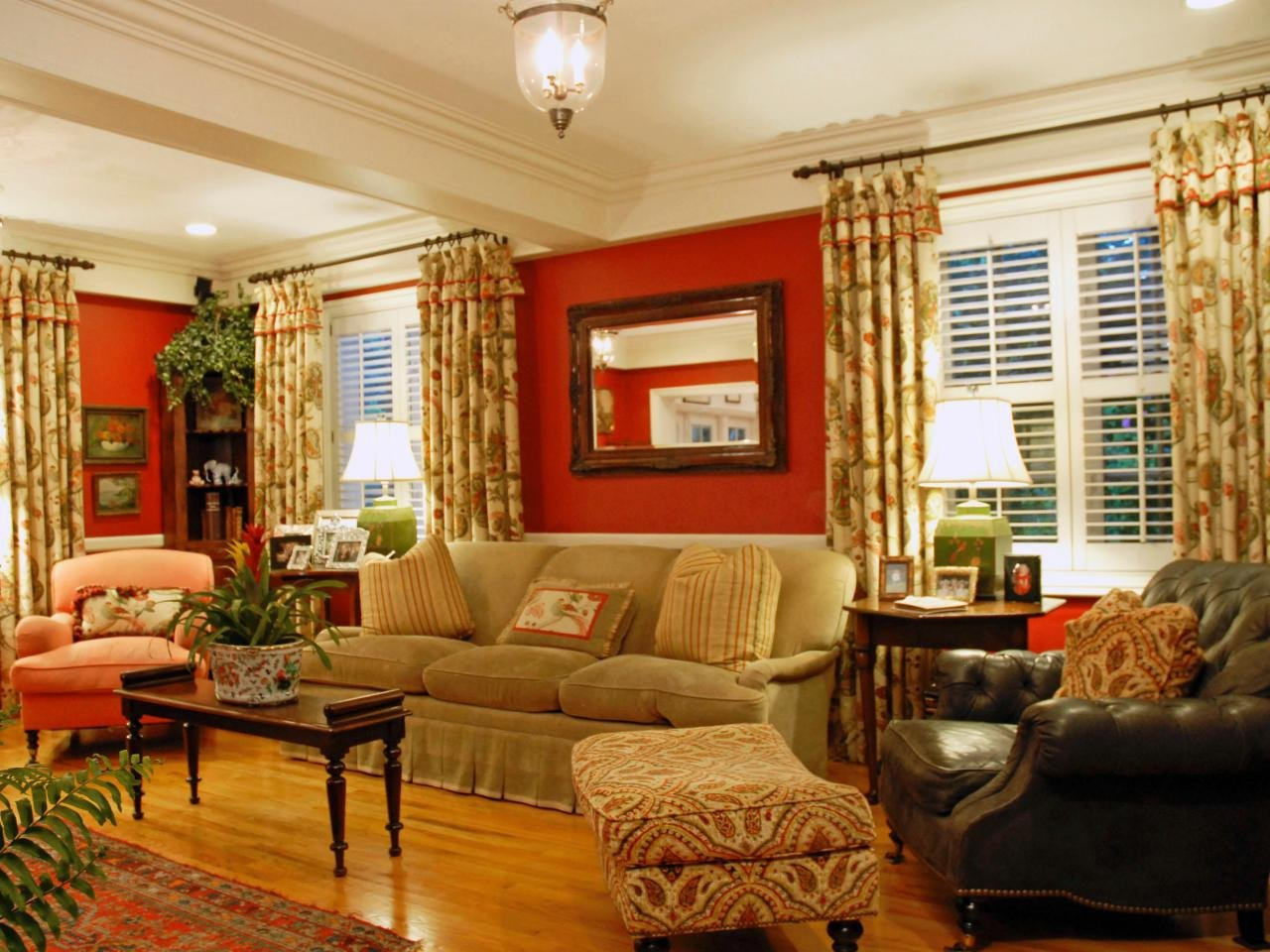 Orange Traditional Living Room Burnt orange and Brown Living Room Zion Star