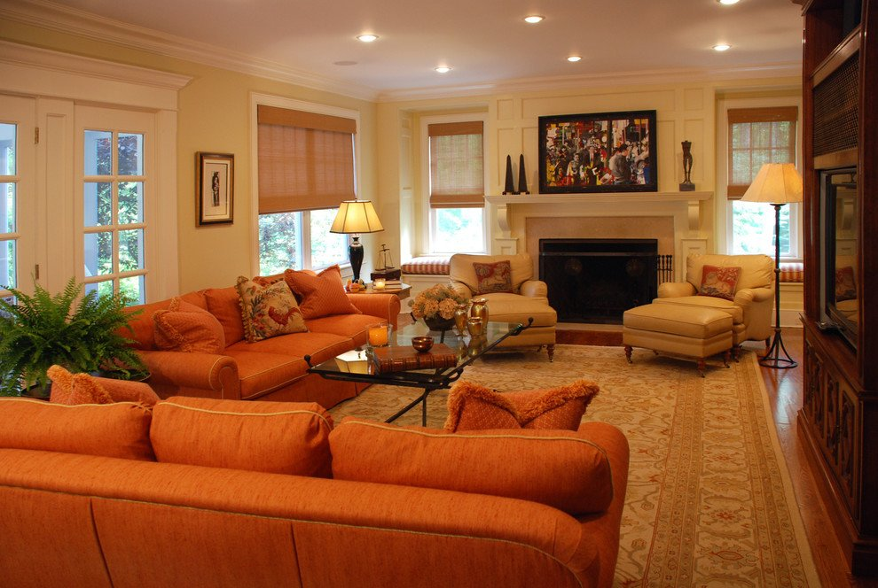 Orange Traditional Living Room Burnt orange sofa Living Room Contemporary with Bright