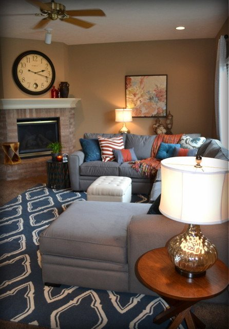 Orange Traditional Living Room Casual orange Blue and Gray Family Room Traditional