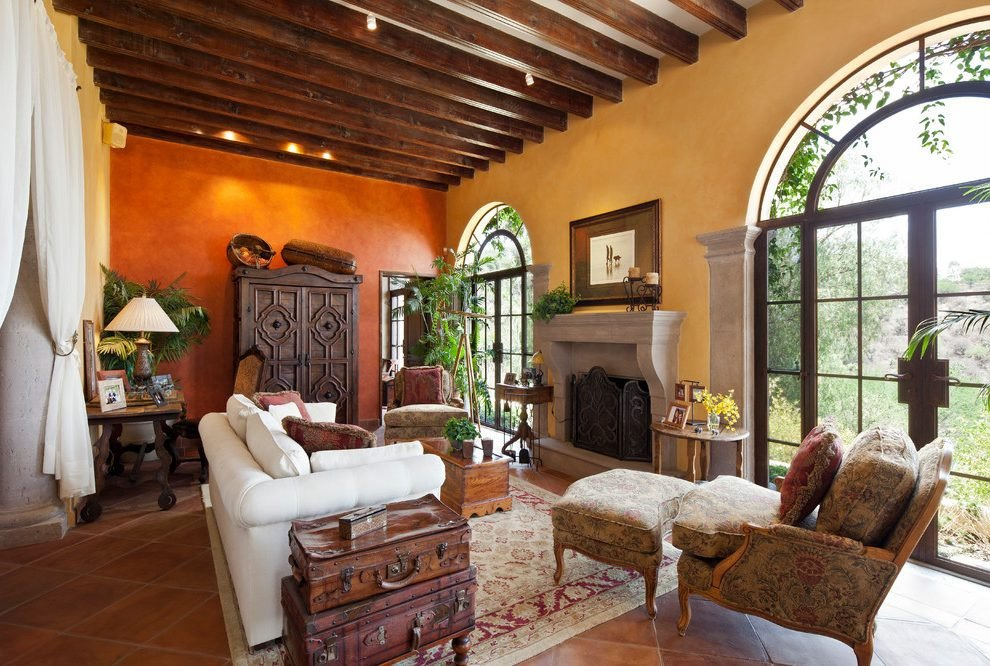 Orange Traditional Living Room orange Accent Wall Living Room Mediterranean with White