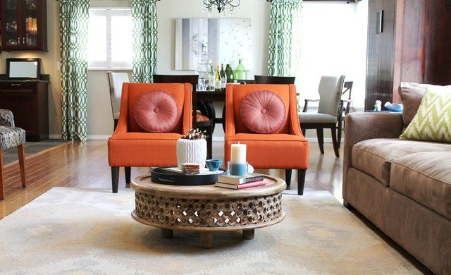 Orange Traditional Living Room orange Transitional Chairs and Rustic Coffee Table