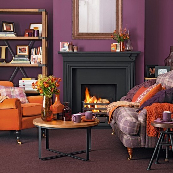 Orange Traditional Living Room Purple and orange Living Room Traditional Decorating Ideas