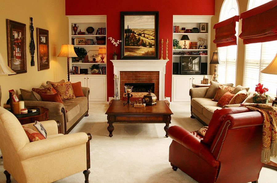 Orange Traditional Living Room Red Living Rooms Design Ideas Decorations S