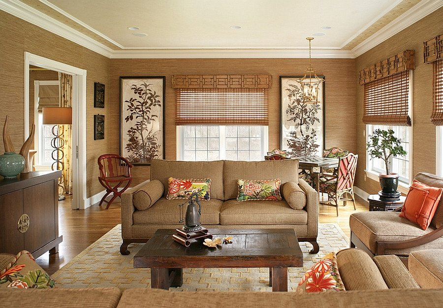Oriental Living Room Ideas 20 Living Rooms with the Textural Beauty Of Grasscloth