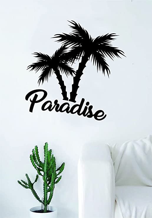 Palm Tree Decor for Bedroom Amazon Paradise Palm Trees Quote Decal Sticker Wall
