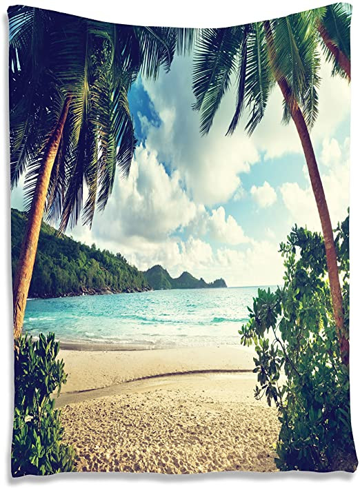 "Palm Tree Decor for Bedroom Ambesonne Palm Tree Tapestry Summer Beach Vintage Style Tropical Sunset Picture Print Wall Hanging for Bedroom Living Room Dorm Decor 60"" X 80"""