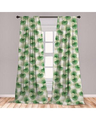 Palm Tree Decor for Bedroom East Urban Home East Urban Home Ambesonne Leaf 2 Panel Curtain Set Tropical Leaf Palm Tree Livistona Rotundifolia island Jungle Foliage Lightweight