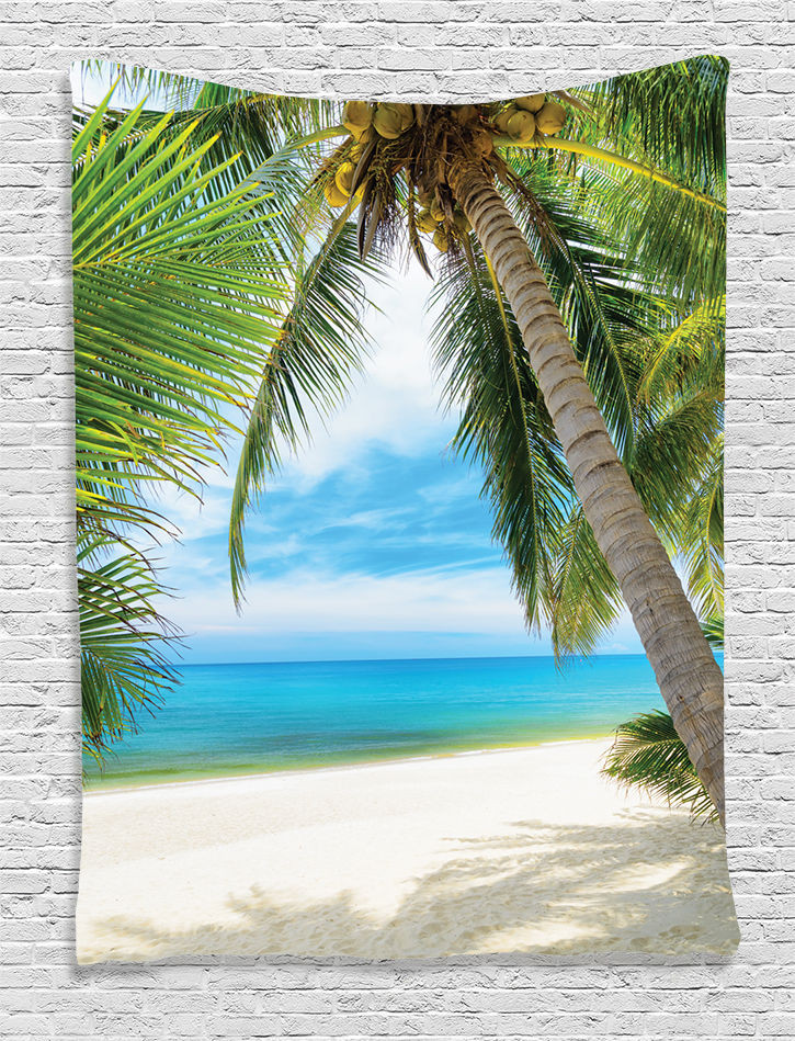 Palm Tree Decor for Bedroom Ocean Coconut Palm Tree Tapestry Wall Hanging for Living