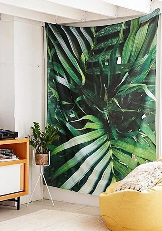 Palm Tree Decor for Bedroom Qcwn Floral Tapestry Palm Tree Leaf Plants themed Print Beautiful Flowers Wall Hanging Home Decor Art for Bedroom Living Room Dorm 3 59wx51l