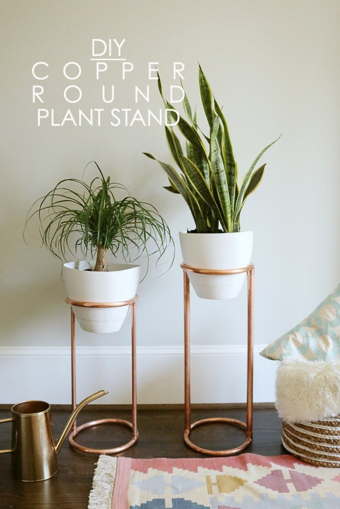 Plant Stand Ideas to Fill Your Living Room Diy Copper Round Plant Stand Darling Darleen