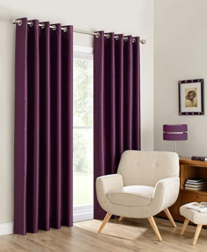 Plum Curtains for Bedroom Amazon Beryhome Faux Silk Double Layer Lined 100