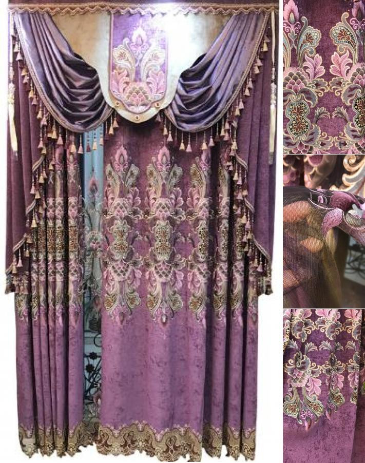 Plum Curtains for Bedroom Dark Purple Plum Curtains Luxury Decorative Embroidery Floral Window Treatments