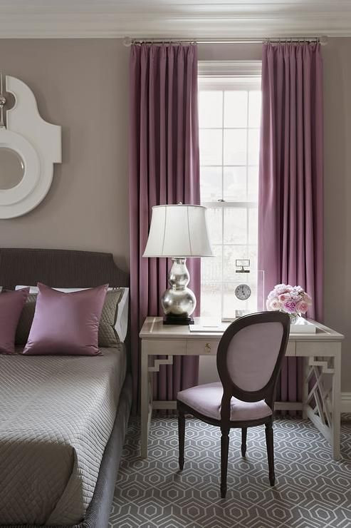Plum Curtains for Bedroom Gray and Purple Bedroom Features Walls Painted Warm Gray