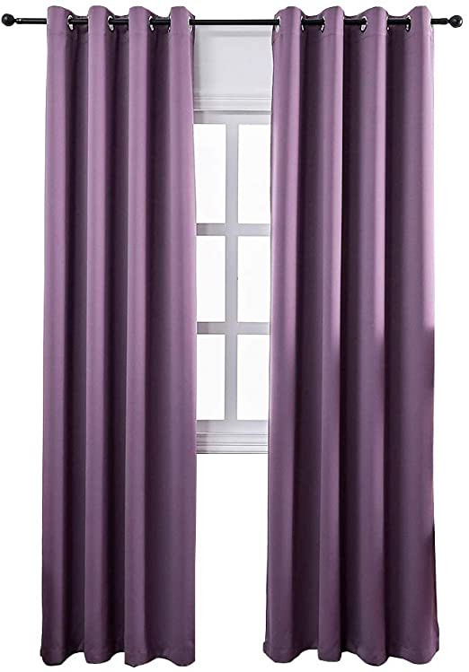 Plum Curtains for Bedroom Mangata Casa Bedroom Blackout Curtains Grommets 2 Panels thermal Window Curtain Drapes for Living Room Darking Drapes Purple 52x84inch