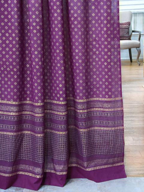 Plum Curtains for Bedroom Mystic Amethyst Purple Gold Sari India Curtain Panel
