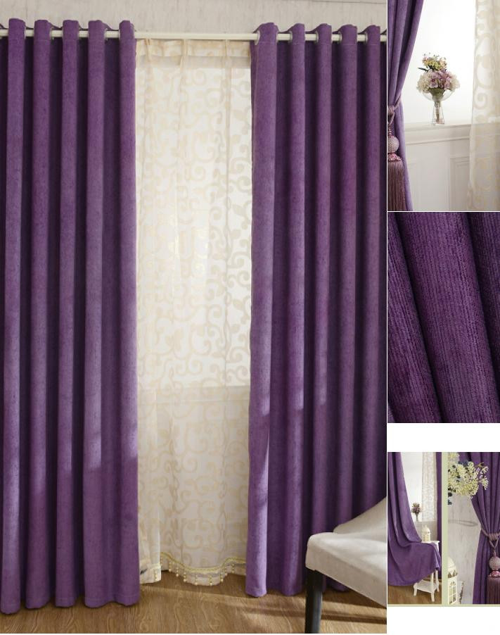 Plum Curtains for Bedroom Thick Chenille Fabric Romantic Purple Blackout and Insulated Bedroom Curtains