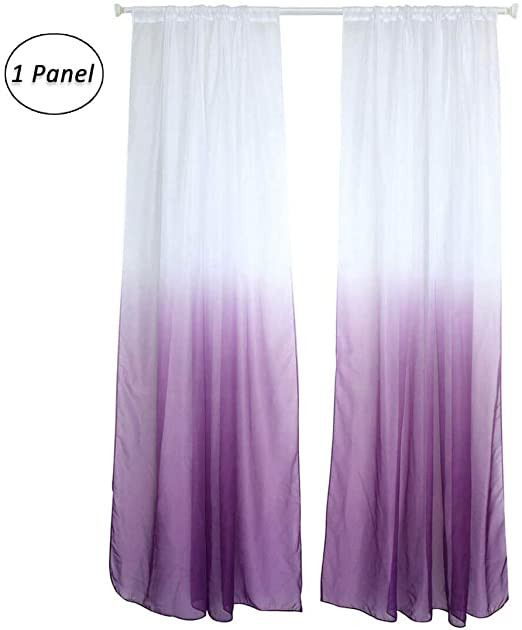 Plum Curtains for Bedroom Wubodti Purple Ombre Sheer Voile Room Door Window Curtain 1 Panel Linen Indoor Outdoor Gra Nt Gauze Drape Curtain Panel for Kid Bedroom Living