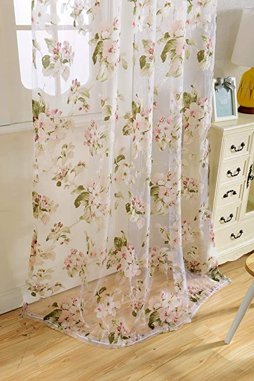 Pretty Curtains for Bedroom Amazon Floral Sheer Voile Curtain Country White Flower