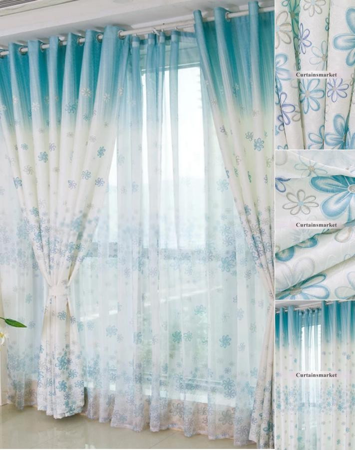 Pretty Curtains for Bedroom Beautiful and Pretty Bedroom or Living Room Blue Floral Curtains