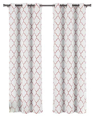 Pretty Curtains for Bedroom Duck Duck River Geometric Blackout Curtain for Bedroom 37x84 2 Pieces Pretty Pink From Amazon