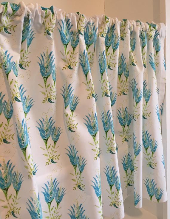 Pretty Curtains for Bedroom Pretty Turquoise & Lime Green Cafe Valance Curtains Window Treatments for Kitchen Bedroom or Bathroom
