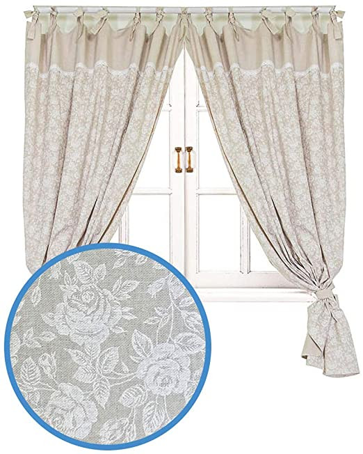 Pretty Curtains for Bedroom Provence Cotton Curtains In French Country Style for Kitchen Bedroom Living Room 67 X 55 Set Of 2 Panels with 2 Tiebacks White Rose