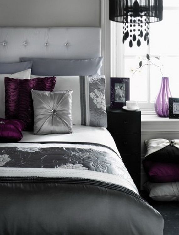 Purple and Grey Bedroom Decor A Bit Dark but I Like the Purple Accents