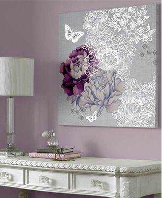 Purple and Silver Bedroom Monsoon Purple and Silver Flowers and butterflies Canvas