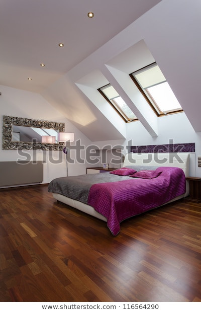 Purple and Silver Bedroom Spacious Bedroom Purple Silver Bed Stock Edit now