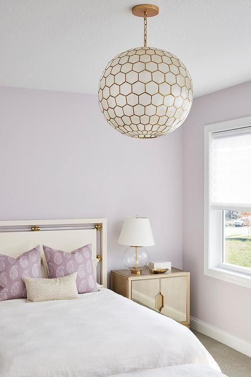 Purple and White Bedroom A Capiz Globe Chandelier Lights A Stunning Purple and Gold